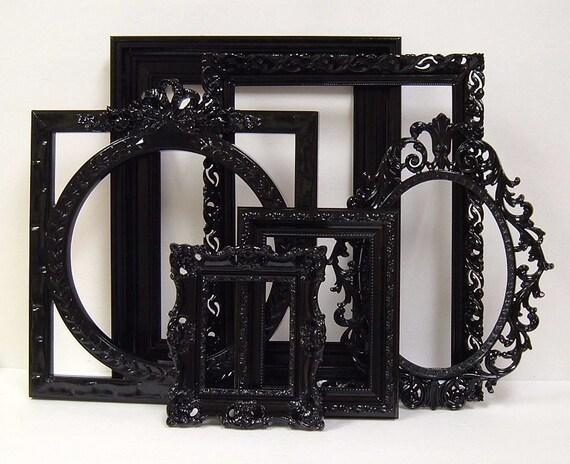 Picture Frames Black Shabby Chic Frames Set Ornate Frames Gallery Wall Wedding Decor