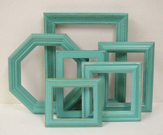 Shabby Chic Frames Aqua Turquoise Picture Frame Set Beach Decor Home Decor