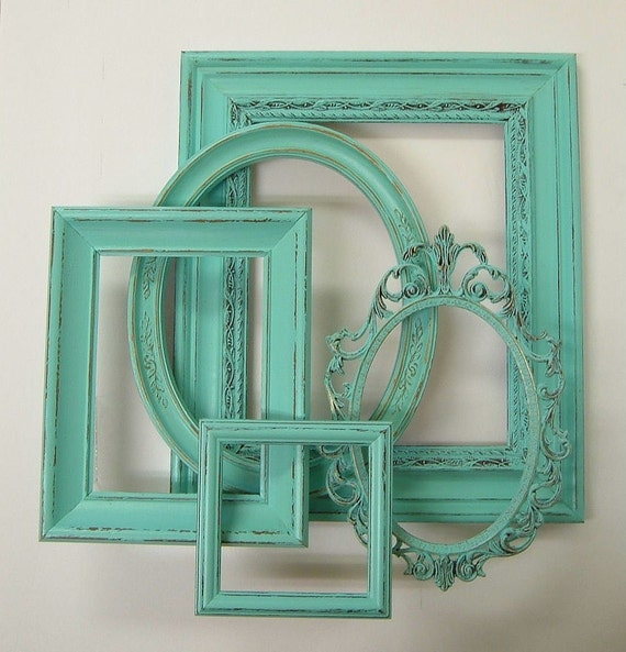Turquoise Shabby Chic Bedrooms: Picture Frame Set Shabby Chic Frames Distressed Aqua Turquoise