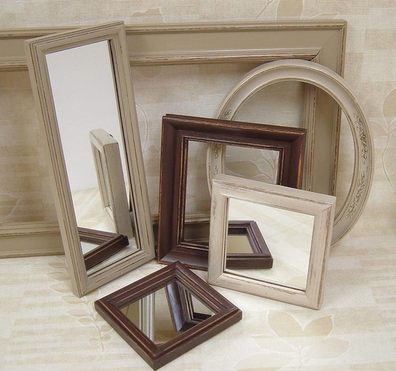 Picture Frames Wall Mirrors Shabby Chic Frame Mirror Set Brown Neutral Modern Home Decor