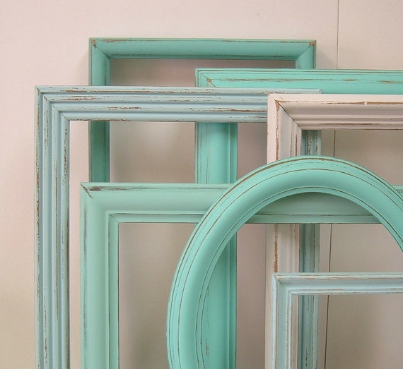 Turquoise Shabby Chic Bedrooms: Shabby Chic Frames Picture Frame Set LARGE Frames Turquoise