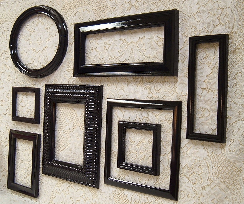 Picture frames black frame set wall gallery collection mid for Picture wall decor