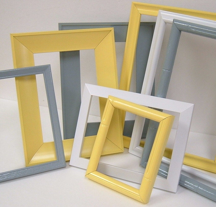 Yellow and grey home decor picture frames modern wall decor - Designs in glasses for house decoration ...