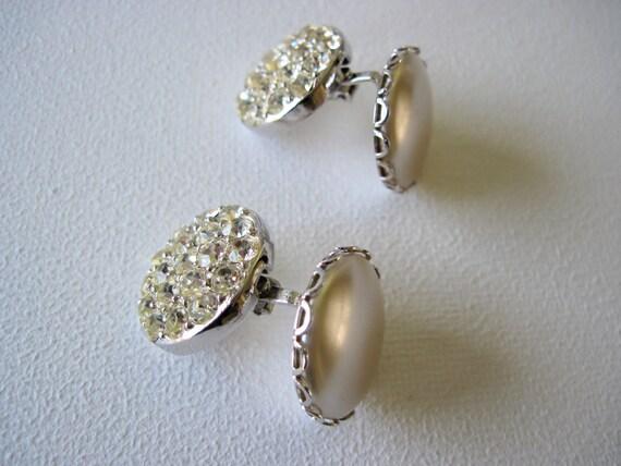 Vintage Sarah Coventry 2 In 1 Reversible Earrings with Rhinestones & Pearls