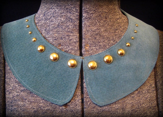 Teal Suede Peter Pan Collar with Metal Studs