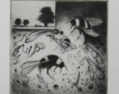 """Bees in a Whirl - Drypoint print with bees 10 x 10 cm/4 x 4 """""""