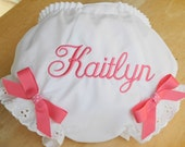Personalized Baby Diaper Cover Bloomers New Baby Diaper Cover Embroidered in Hot Pink  with or without Bows