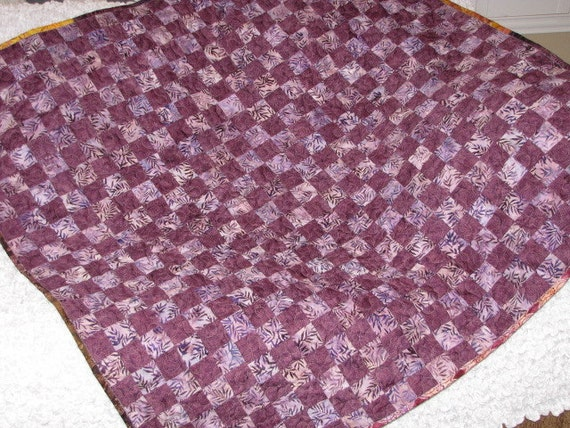 Quilt Purple Batik Postage Stamp NEW Ready to Ship