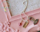Personalized silver ballerina necklace