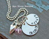 Personalized silver necklace with date and name, chunky heart pendant and crystal drop