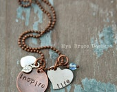 new Teacher necklace - mixed metal - inspire life