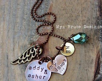 mixed metal - my loves - design with angel wing and beautiful large aqua drop