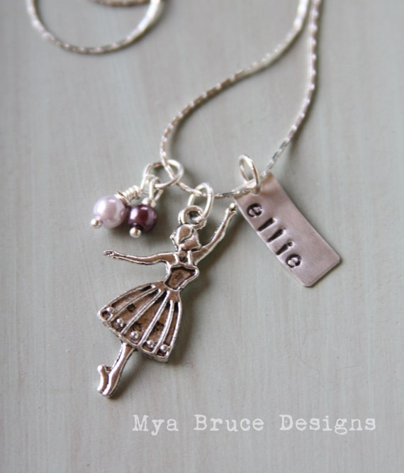 Personalized silver ballerina necklace with name & purple pearl drops