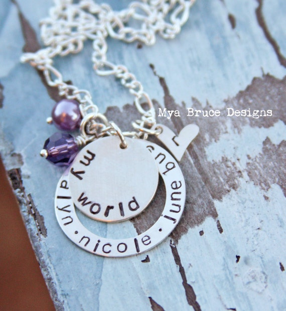 Personalized silver My World necklace with initial heart tag