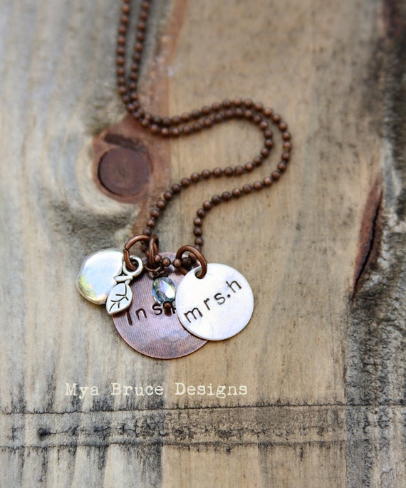 new Teacher necklace - mixed metal - inspire