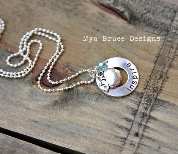 new Teacher necklace - in silver with apple and crystal drop - inspire