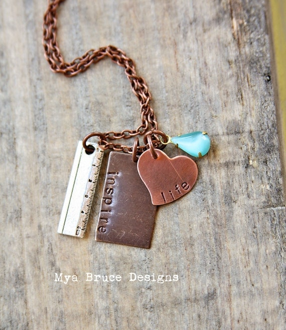 new Teacher necklace - mixed metal - inspire life with vintage blue aqua drop and silver ruler charm