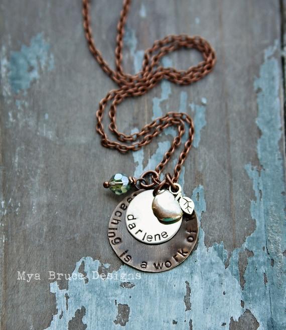 Teacher necklace - mixed metal - teaching is a work of heart