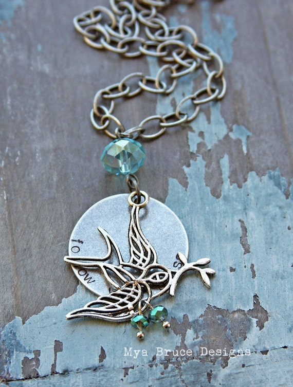 Follow your bliss - long antiqued silver and aqua design with sparrow and crystal drops