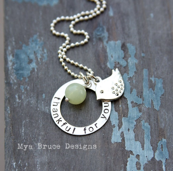 thankful for you - silver washer necklace with silver bird pendant and amazonite drop