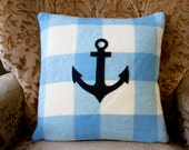 NZFINCH Anchor cushion cover, Blue and White, zip close