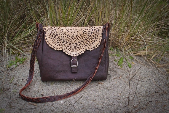 FINCH small chocolate leather boho bag, leather plait strap and appliqued doily