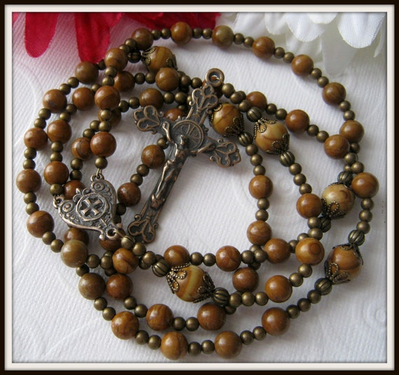 Catholic Rosary for Men in Bronze & Gold Lace Agate