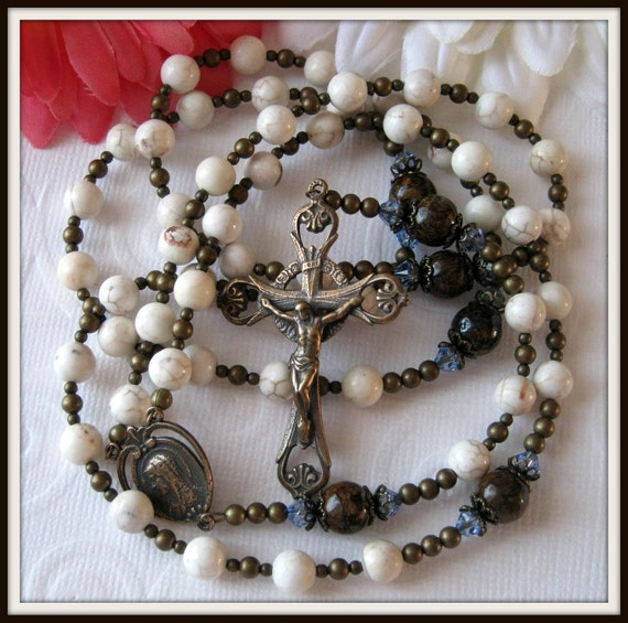 Womens Catholic Rosary Beads in White Turquoise w/ Bronze Catholic Medals