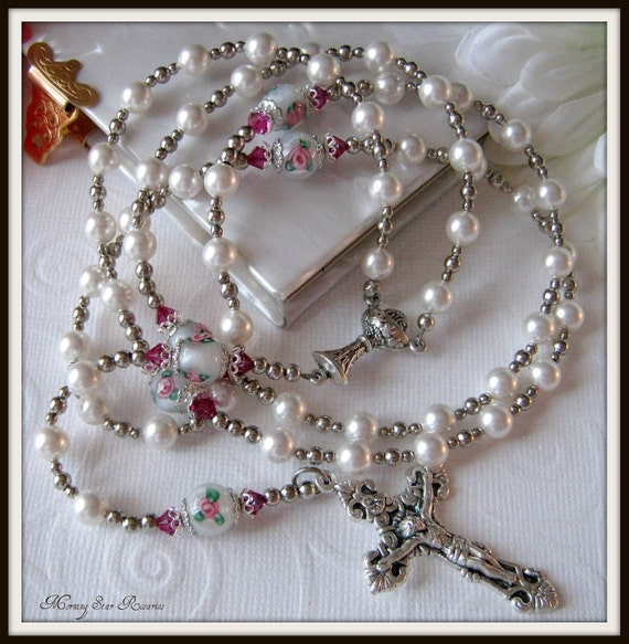 RESERVED for Sinead - Communion Rosary for Girls, Swarovski Pearl Rosary with Lampwork