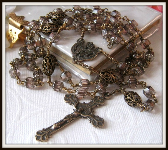 Catholic Rosary, Bronze Wire Wrapped, Unbreakable