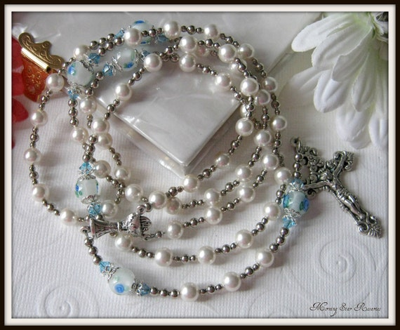 Catholic Rosary for Girls, Communion Rosary in White Swarovski Pearl & Floral Lampwork