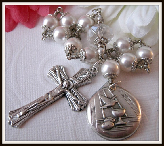 Girls First Holy Communion Rosary, Single Decade Pocket Rosary, Wire Wrapped Unbreakable Rosary in White Swarovski Pearl