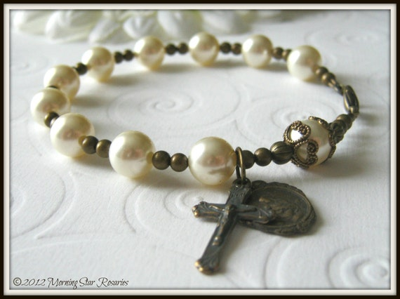 Bronze Catholic Rosary Bracelet in Swarovski Pearl w/ Nursing Mother Medal (La Madonna Litta)