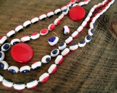 Vintage plastic necklace and earrings set red white and blue jewelry