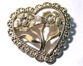 Heart Brooch Gold Tone Faux Pearl Brooch Gold Tone Lovely