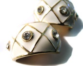 Vintage Enamel Clip Earrings Glam Gold Tone Creamy Rhinestone