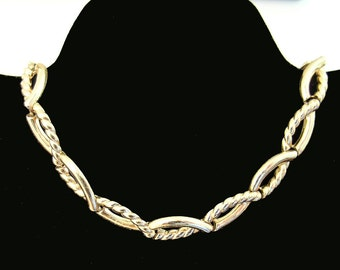 Vintage Monet Choker Necklace Goldtone Rope Style