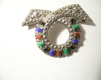 Vintage Bow Brooch semi precious stones silver tone