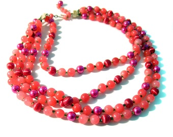 Vintage Multi Strand Necklace Hot Pink