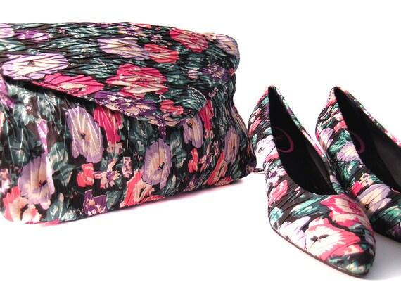 Vintage 80s pumps Floral High Heels shoes purse