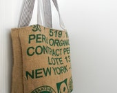 Recycled Coffee Burlap Tote with Pinstripe lining