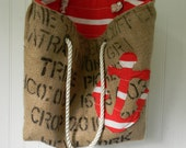 Coffee Bean Burlap Tote with Yellow and Gray Lining and Gray nautical anchor