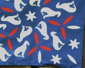 Patriotic Bandanna white greyhounds blue and red