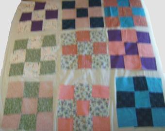 quilting fabric squares, scrappy quilt squares, nine patch, diagonal stripe