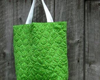 Spring Green Gift Bag Tote Bag doubles as a Christmas bag with Ornament Design