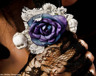 Antique Doll, Lace, and Rose Victorian Goth Barrette