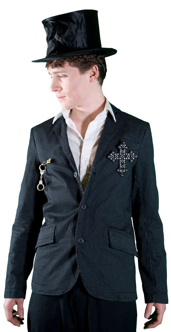 Cross N' Cuffs Upcycled Pinstriped Jacket (Men's Size XS or Women's S/M)