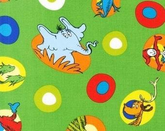 Celebrate Seuss Character Toss Green for Robert Kaufman, 1/2 yard