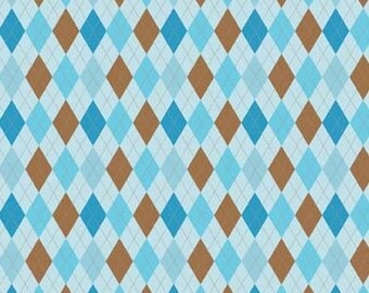 Fox Trails Blue Argyle by Doohikey Designs for Riley Blake, 1/2 yard