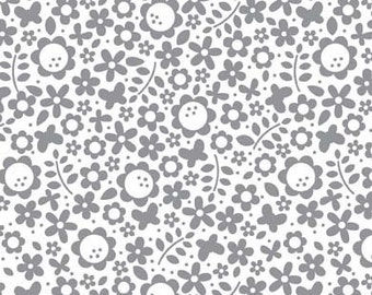 Tuxedo Collection Gray Floral by Doodlebug Designs Inc for Riley Blake, 1/2 yard